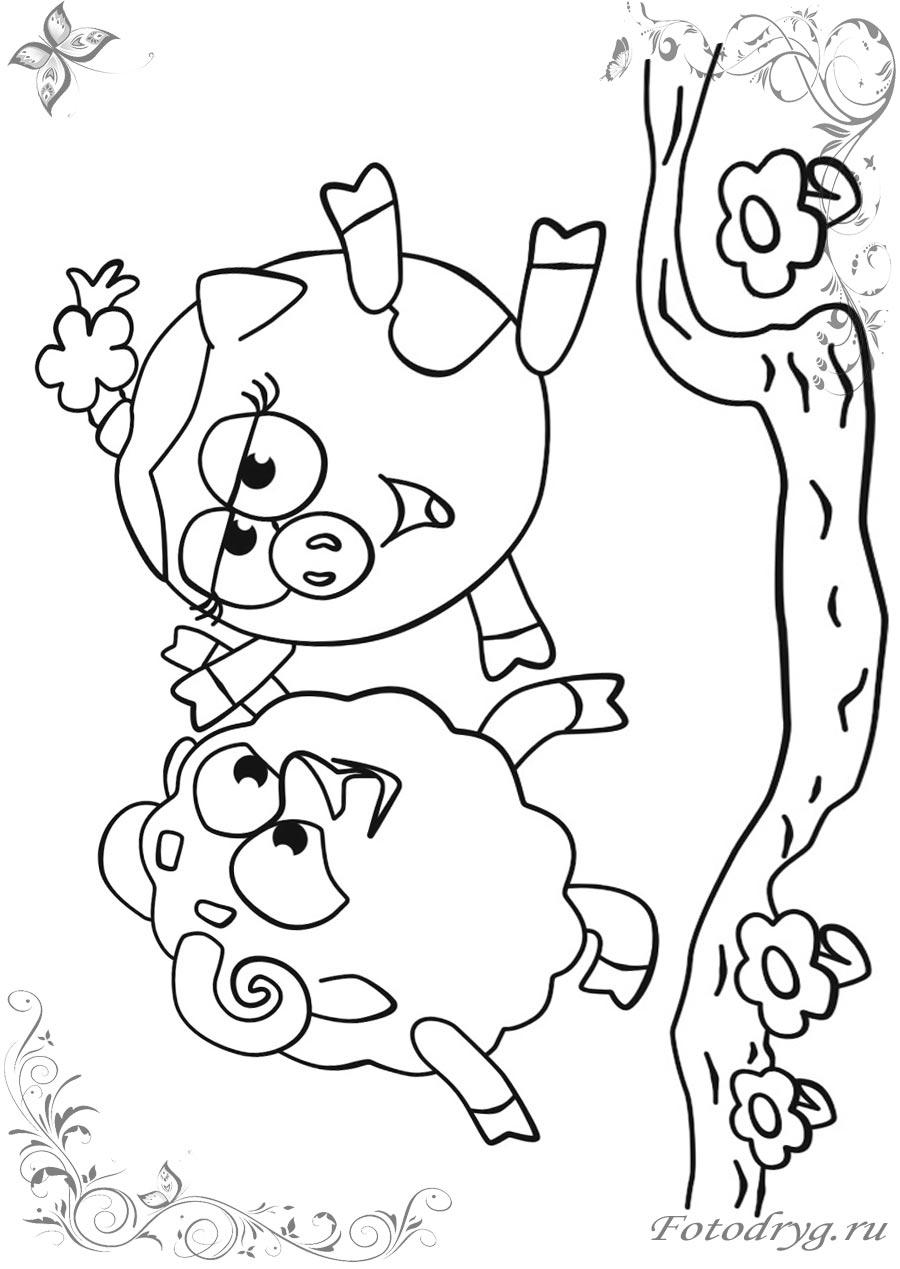 Печатайте раскраски Смешарики Бараш на принтере и играйте ...