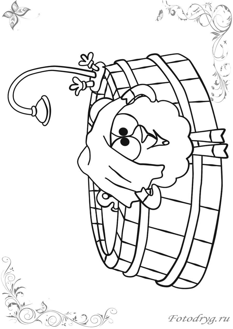 Раскраски Смешарики Бараш для детей для печати и онлайн