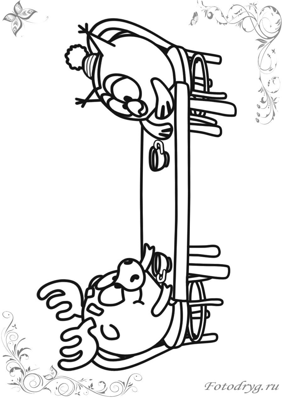 Раскраски Смешарики Лосяш печатайте и играйте онлайн