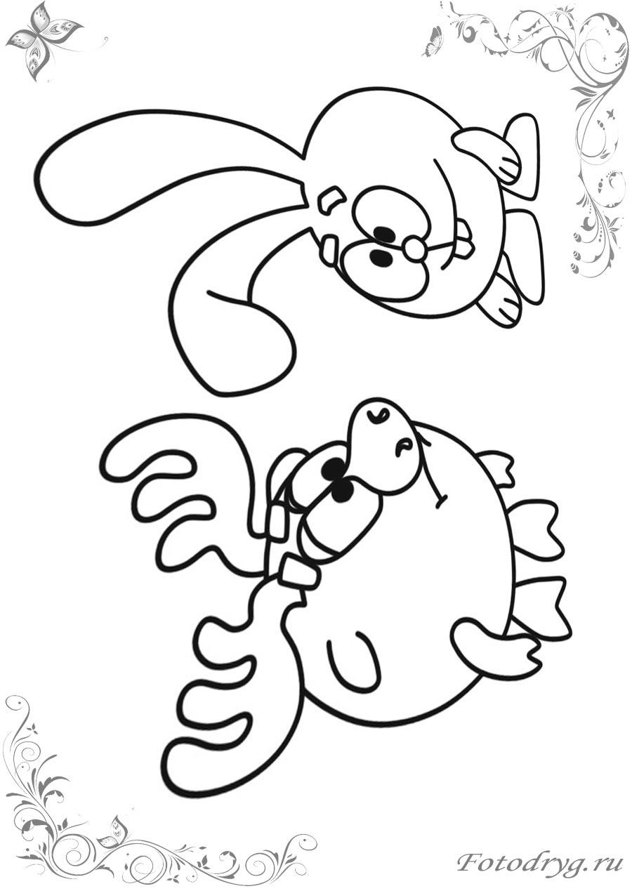 Раскраски Смешарики Лосяш для детей печатайте у нас