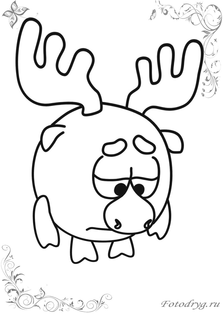 Смешарики Лосяш онлайн раскраски для детей
